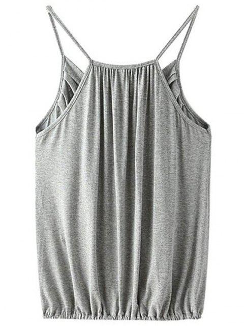 ladies Crossover Draped Cami Tank Top - GRAY S Mobile