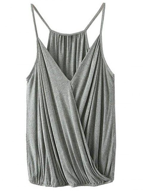 best Crossover Draped Cami Tank Top - GRAY L Mobile