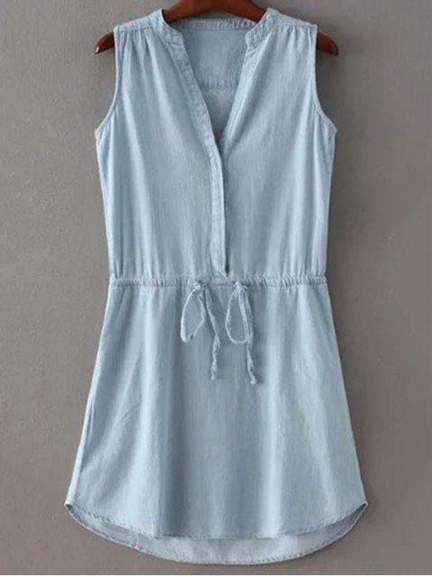 outfit Drawstring Stand Collar Sleeveless Pockets Dress - ICE BLUE L Mobile