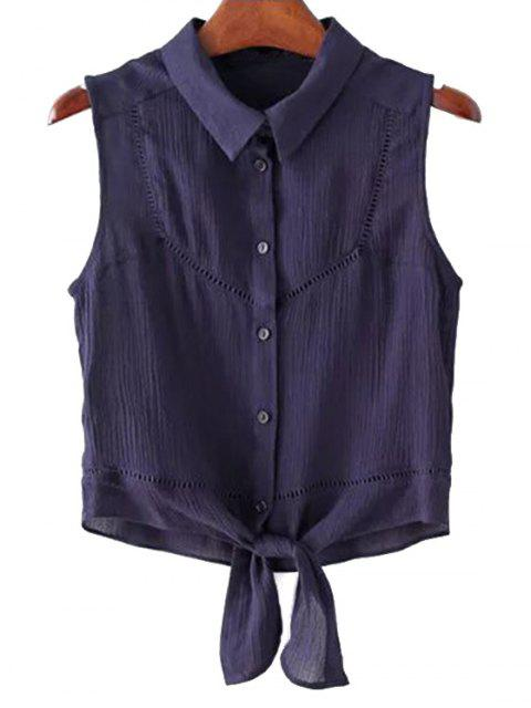 hot Knotted Shirt Collar Sleeveless Cropped Blouse - PURPLISH BLUE L Mobile