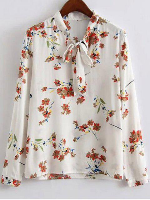 trendy Bow Tie Collar Floral Print Long Sleeve Blouse - WHITE S Mobile