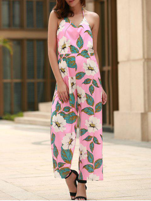 trendy Floral Print Halter Backless Jumpsuit - PINK M Mobile