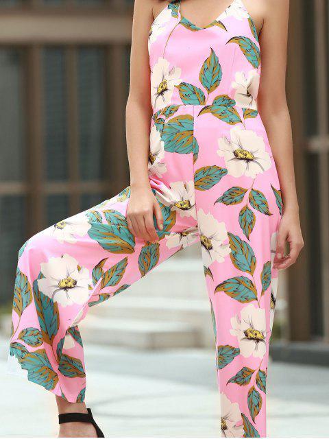latest Floral Print Halter Backless Jumpsuit - PINK S Mobile