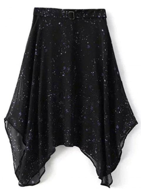 shop Galaxy Spaghetti Strap Chiffon Dress - BLACK M Mobile