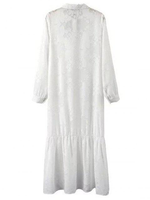 hot Solid Color Embroidery Turn-Down Collar Long Sleeve Dress - WHITE M Mobile