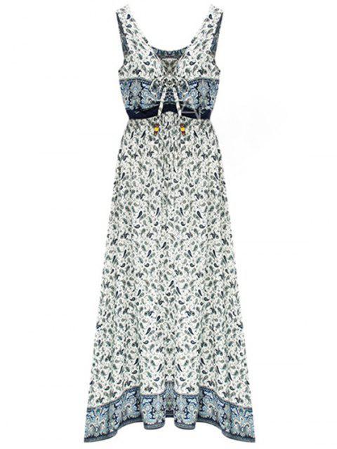 new Paisley Print Draped Midi Dress - LIGHT BLUE S Mobile