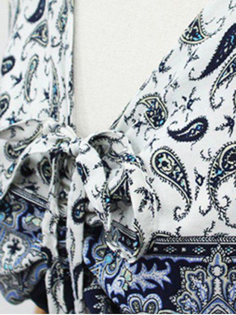 hot Paisley Print Draped Midi Dress - LIGHT BLUE M Mobile