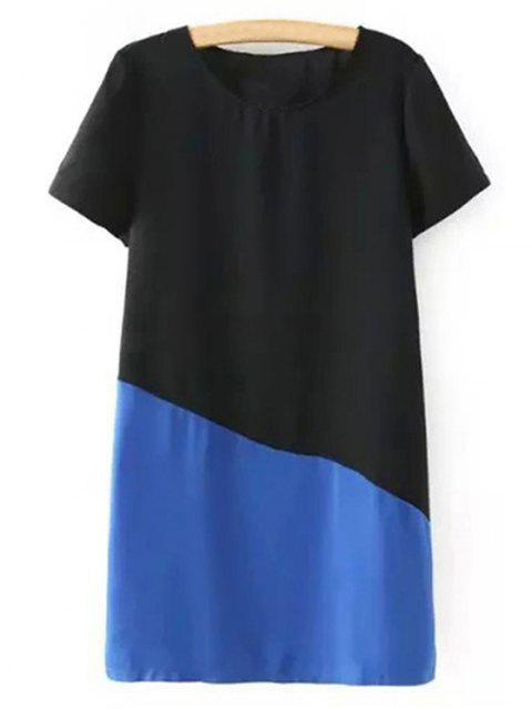 latest Color Block Short Sleeve Round Collar T-Shirt Dress - BLUE L Mobile