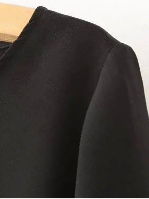 shops Color Block Short Sleeve Round Collar T-Shirt Dress - BLUE M Mobile