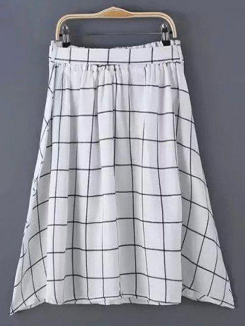 chic Belted Gridding A Line Skirt - WHITE M Mobile