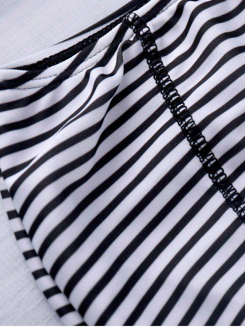 affordable Halter Neck Striped High Waist Bikini Set - STRIPE M Mobile