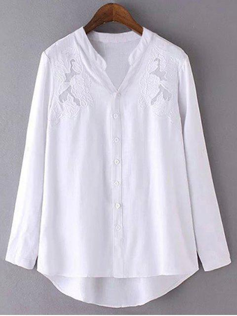 affordable Embroidery Stand Neck Long Sleeve Shirt - WHITE L Mobile