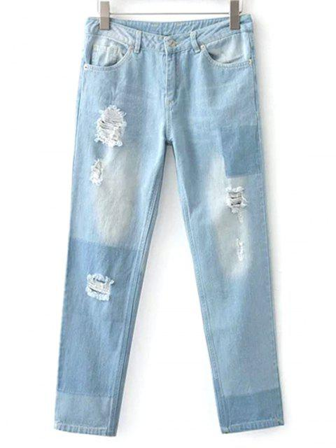 best Broken Hole Boyfriend Jeans - LIGHT BLUE M Mobile