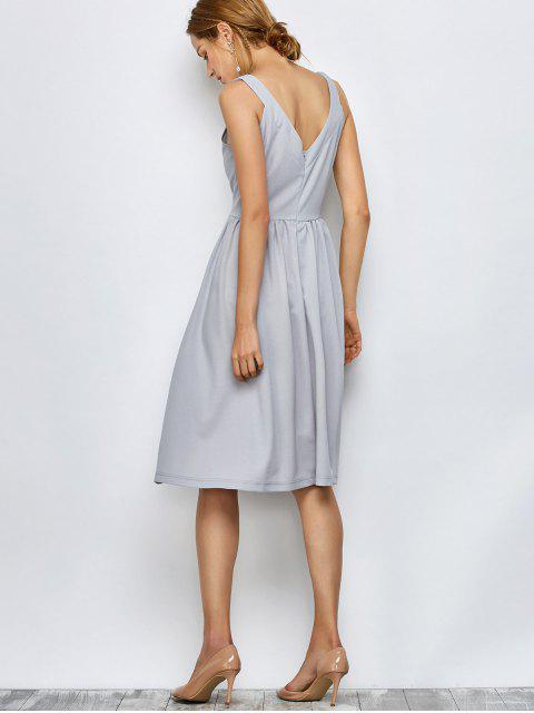 outfit Knee Length A Line Dress - GRAY M Mobile