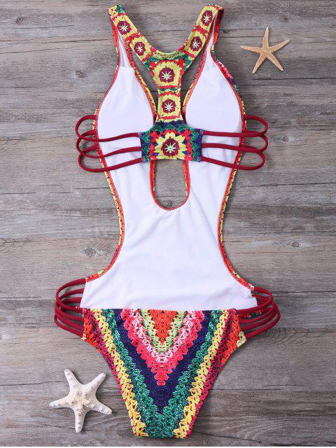 hot Printed High Cut Sexy One Piece Bathing Suit - RED 2XL Mobile