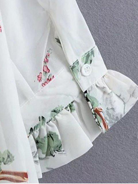 trendy Flroal Print Ruffle Sleeve White Dress - WHITE S Mobile
