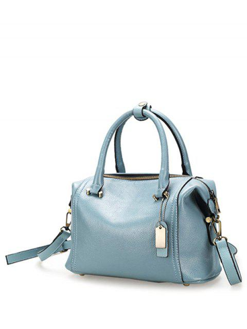 trendy PU Leather Candy Color Tote Bag - BLUE  Mobile