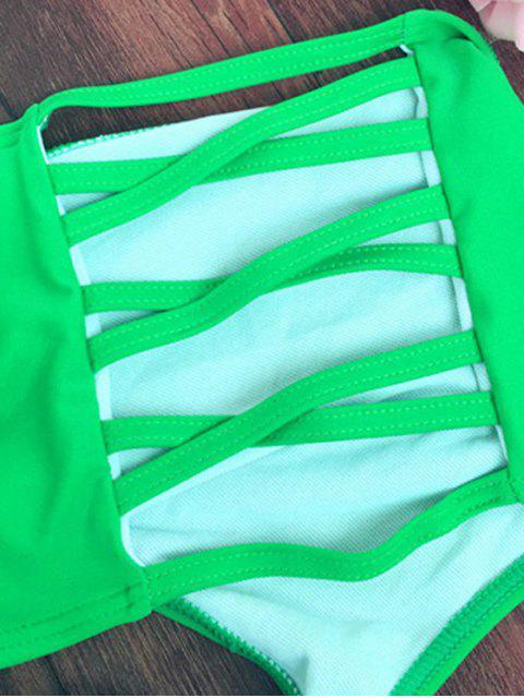 shops Cut Out High Rise Bikini Set - GREEN S Mobile