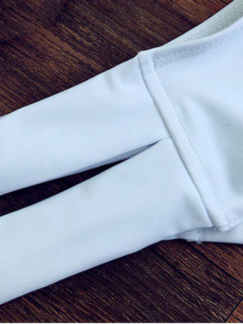 unique Halterneck White Bikini Set - WHITE L Mobile