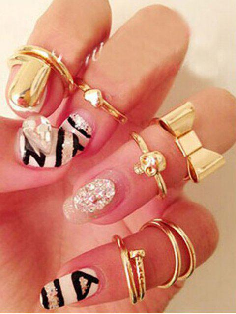 shops Bow Skull Embellished Golden Rings - GOLDEN ONE-SIZE Mobile