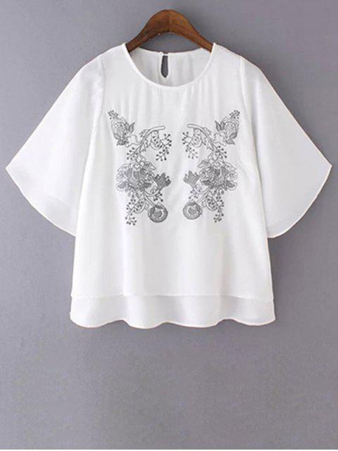 online Loose Embroidered Round Neck Bat-Wing Sleeve T-Shirt - WHITE S Mobile