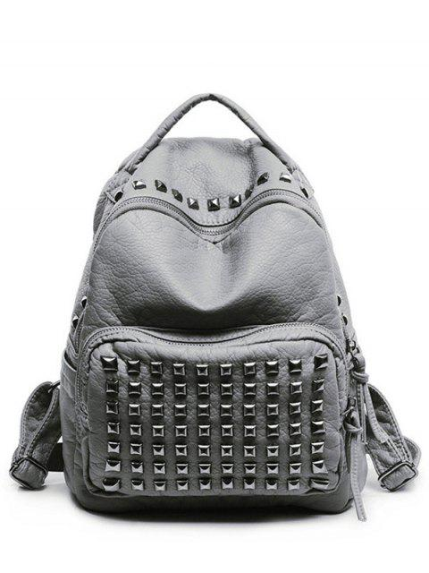 ladies Rivet Solid Color PU Leather Satchel - LIGHT GRAY  Mobile
