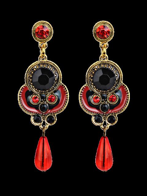 Boucles d'oreilles en strass faux bijoux pendentif de goutte - Rouge  Mobile