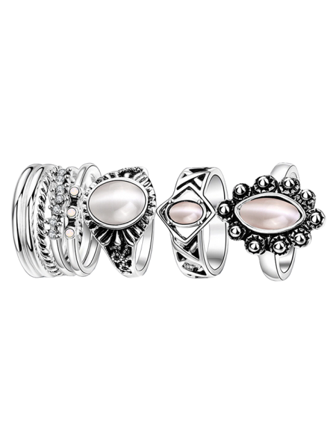 shop Faux Opal Oval Ring Set -   Mobile