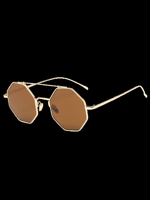 shops Retro Crossbar Polygonal Metal Sunglasses - TEA-COLORED  Mobile