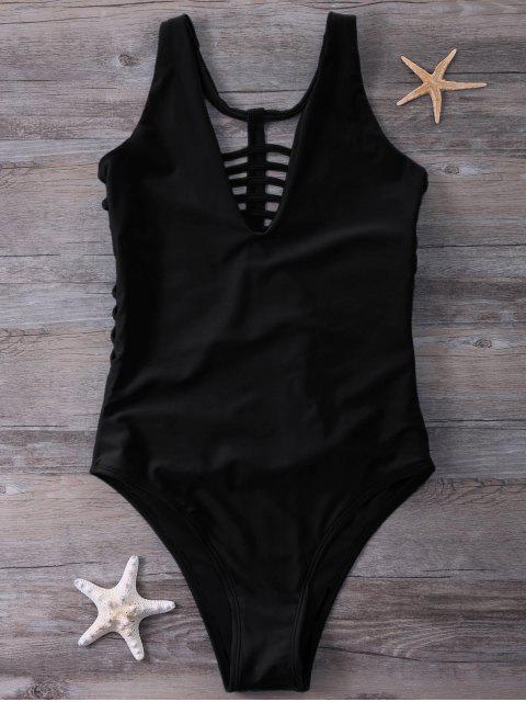 unique Strappy One-Piece Swimwear - BLACK S Mobile