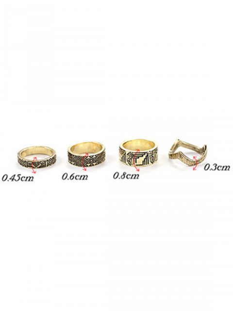 outfits Tribal Style Carve Golden Rings - GOLDEN ONE-SIZE Mobile