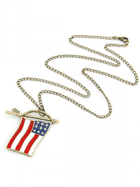 womens Stars and Stripes Flag Pendant Sweater Chain - GOLDEN  Mobile