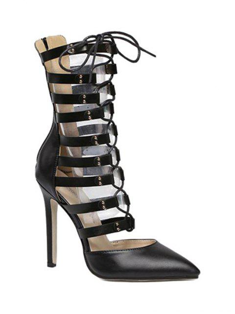 shop Pointed Toe Hollow Out Lace-Up Pumps - BLACK 35 Mobile