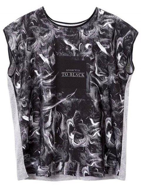 Gedruckt runde Kragen-Seiten-Schlitz-T-Shirt - schwarz grau  M Mobile