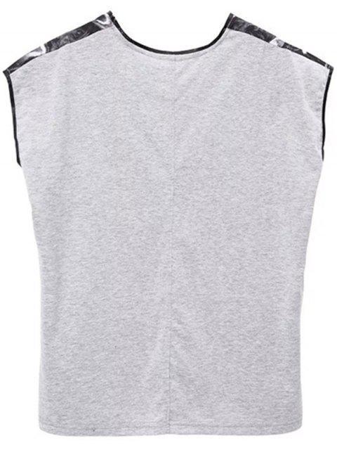 T-shirt imprimé fendu sur les côtés à col rond - Gris Noir S Mobile