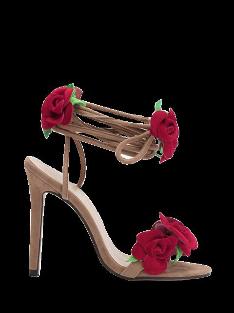 womens Rose Lace-Up Stiletto Heel Sandals - APRICOT 36 Mobile