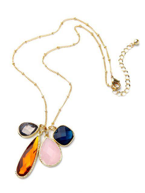 womens Faux Gem Geometric Pendant Necklace - GOLDEN  Mobile