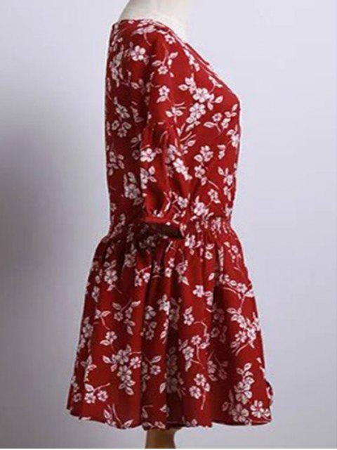 shops Tiny Flower Print Round Neck Puff Sleeve Dress - RED M Mobile