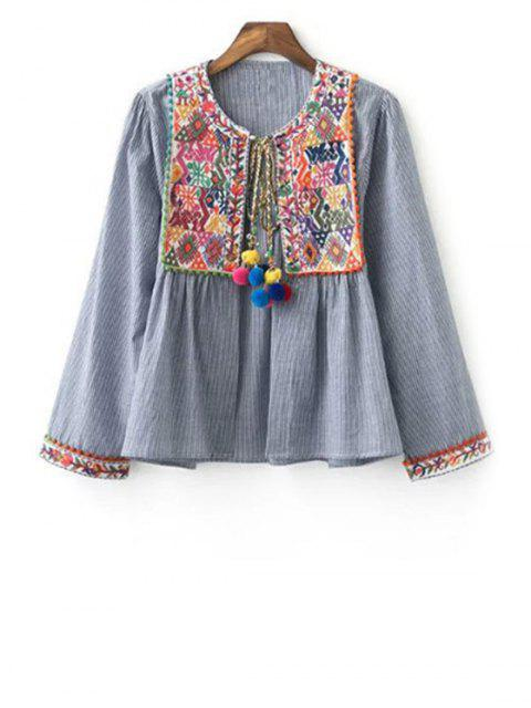 womens Ethnic Embroidery Round Neck Long Sleeve Coat - GRAY S Mobile