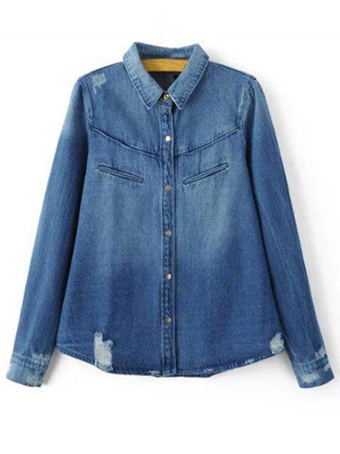 affordable Ripped Turn-Down Collar Long Sleeve Denim Shirt - BLUE L Mobile