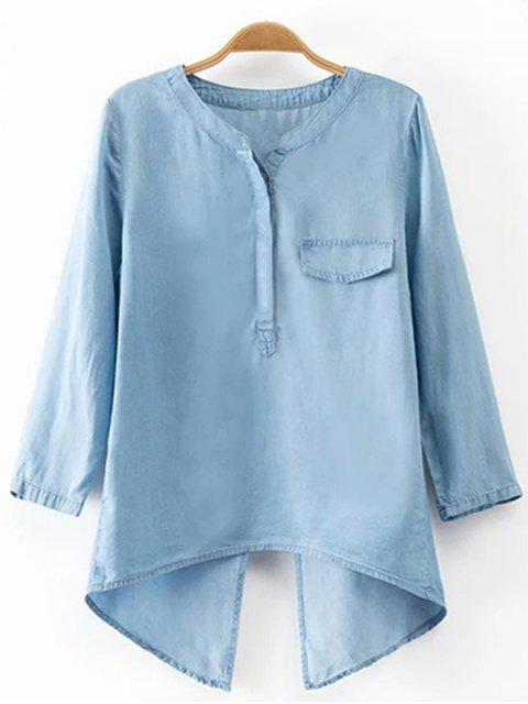 ladies Back Slit Stand Neck 3/4 Sleeve Denim Blouse - LIGHT BLUE S Mobile