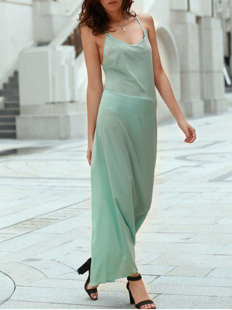 womens Solid Color Spaghetti Strap Backless Maxi Dress - LAKE GREEN S Mobile