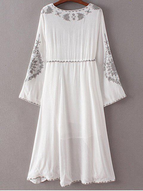 fancy High-Low Hem V-Neck Long Sleeve Embroidery Dress - WHITE S Mobile
