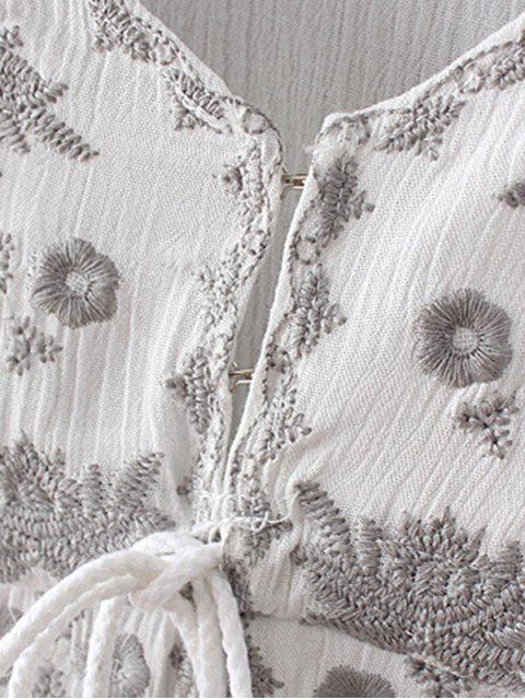 sale High-Low Hem V-Neck Long Sleeve Embroidery Dress - BLACK M Mobile