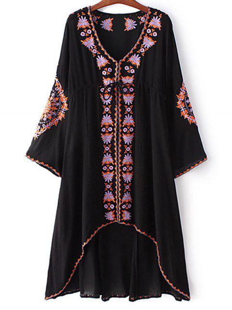 unique High-Low Hem V-Neck Long Sleeve Embroidery Dress - BLACK L Mobile