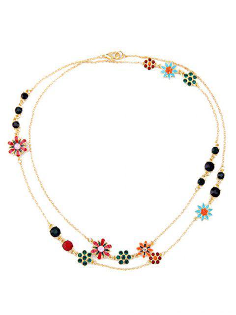 shops Rhinestone Glaze Floral Necklace - GOLDEN  Mobile