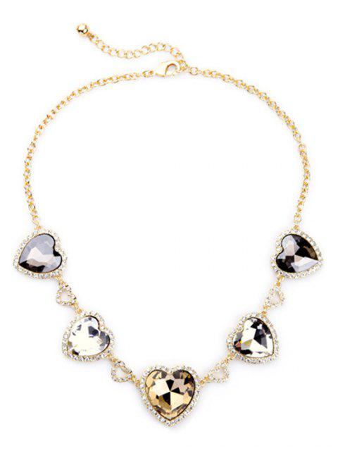 sale Stylish Heart Faux Crystal Necklace -   Mobile