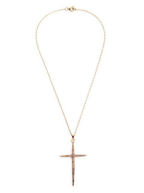 fancy Cross Rhinestone Necklace - GOLDEN  Mobile