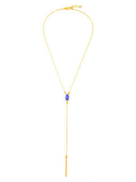 fashion Oval Faux Sapphire Pendant Necklace - GOLDEN  Mobile