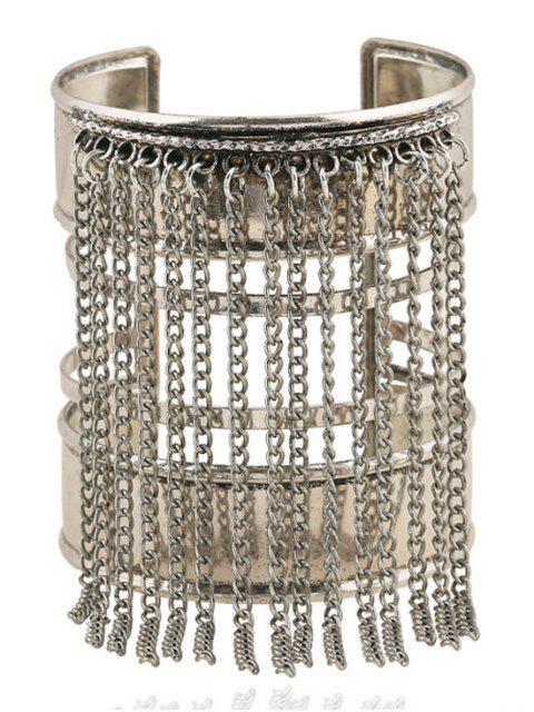 chic Link Chain Tassel Chunky Cuff Bracelet -   Mobile